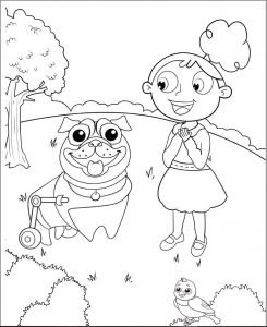 girl with dog coloring page.