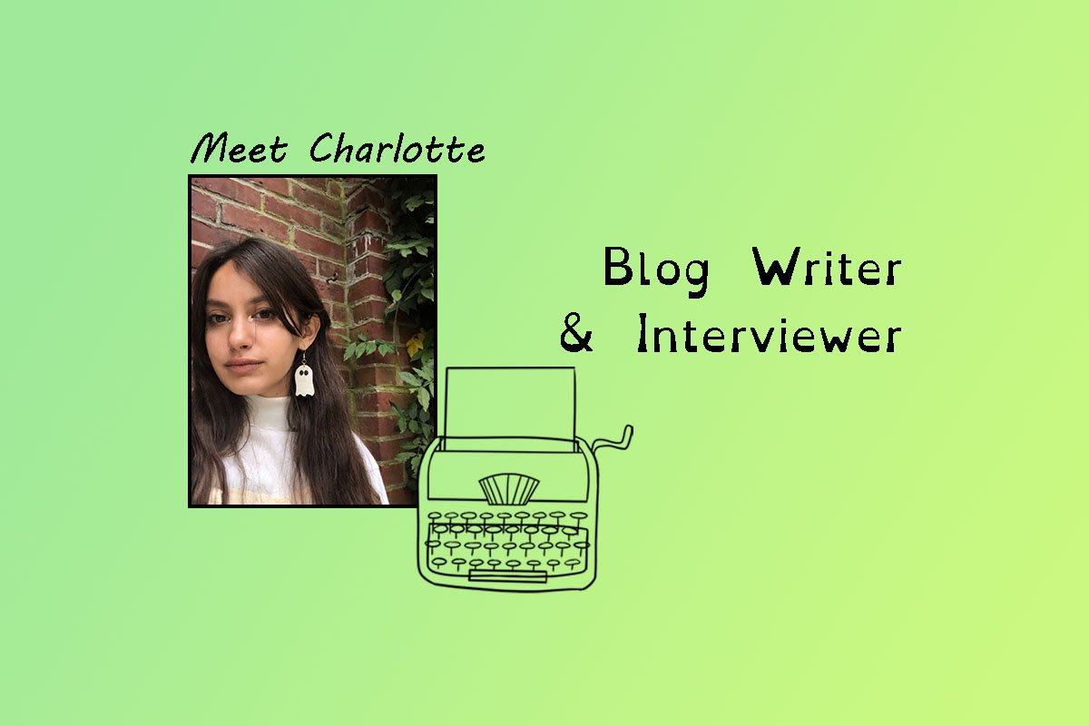 """image of Charlotte and text """"Meet Charlotte"""" and """"blog writer & interviewer""""."""