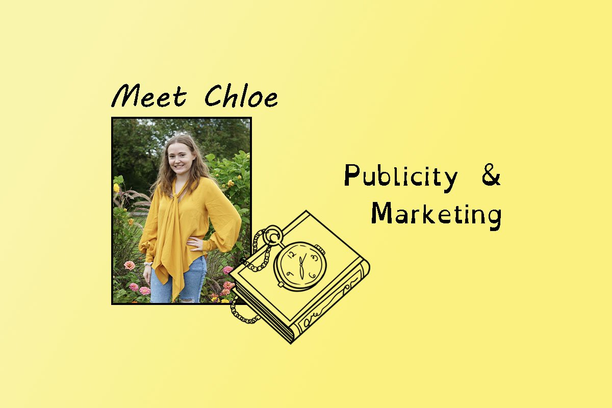 """image of Chloe and text """"Meet Chloe"""" and """"Publicity & Marketing""""."""