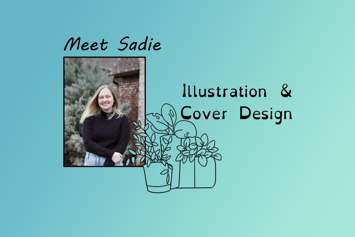 """image of Sadie and text """"Meet Sadie"""" and """"illustration & cover design""""."""