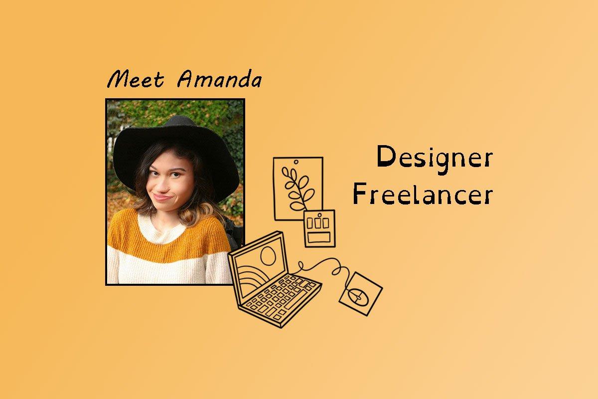 "image of Amanda and text ""Meet Amanda"" and ""Designer Freelancer""AS Founder""."